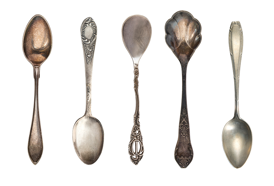 Beautiful Old Silver Spoons Isolated On White. Retro Silverware.